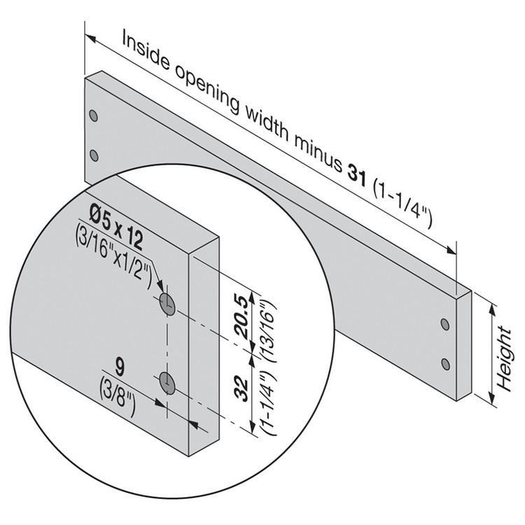 Blum 320K4500C15 18in METABOX 320K Slide, 5in Side Height, 3/4 Ext :: Image 170