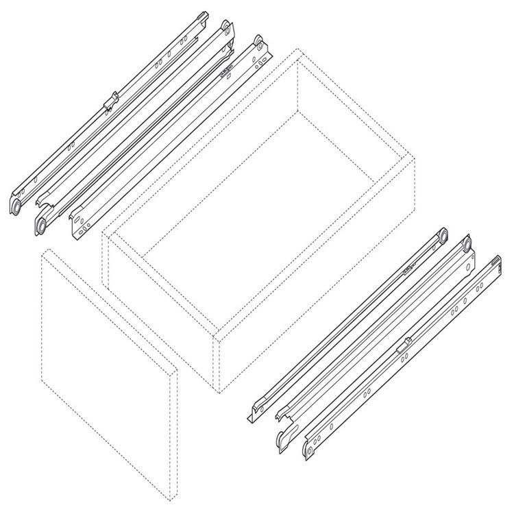 Blum 430E2500 10in Blum Standard 430E Epoxy Drawer Slide, Cream :: Image 50