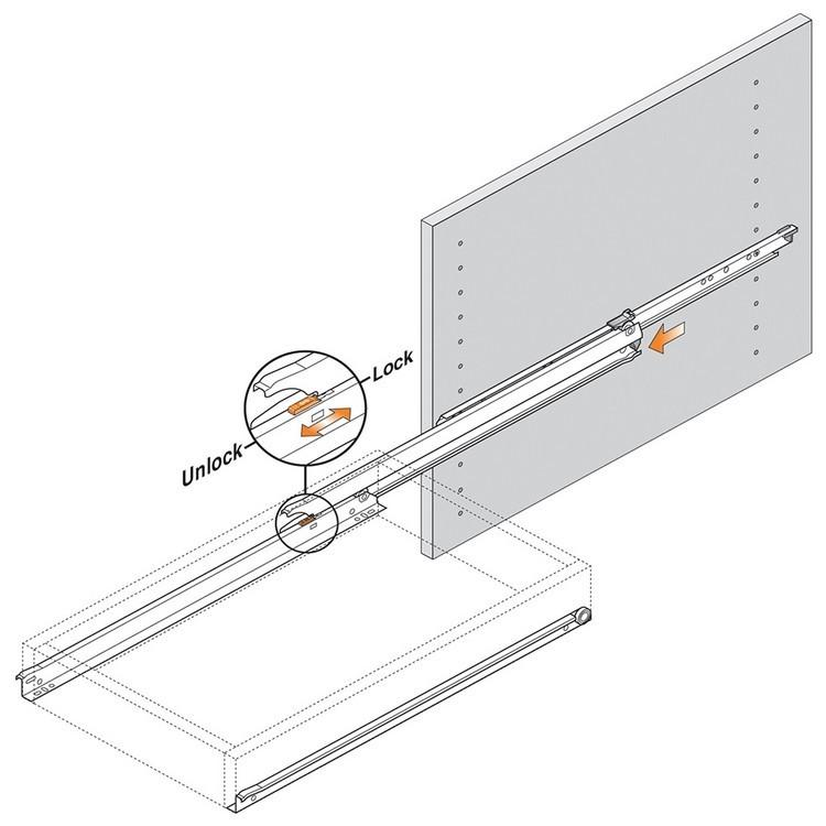 Blum 430E3000V 12in Blum Standard 430E Epoxy Drawer Slide, Cream :: Image 110