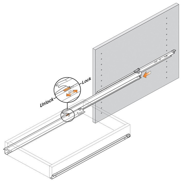 Blum 430E3000V 12in Blum Standard 430E Epoxy Drawer Slide, Cream :: Image 230