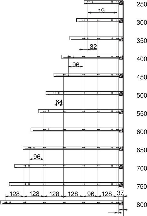 Blum 430E2500 10in Blum Standard 430E Epoxy Drawer Slide, Cream :: Image 140