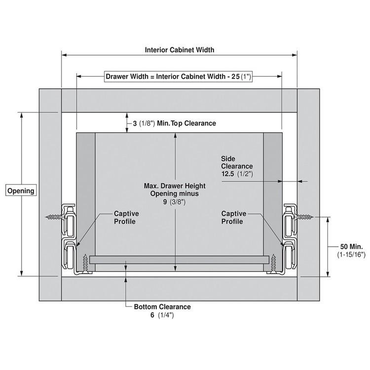 Blum 430E2500 10in Blum Standard 430E Epoxy Drawer Slide, Cream :: Image 200
