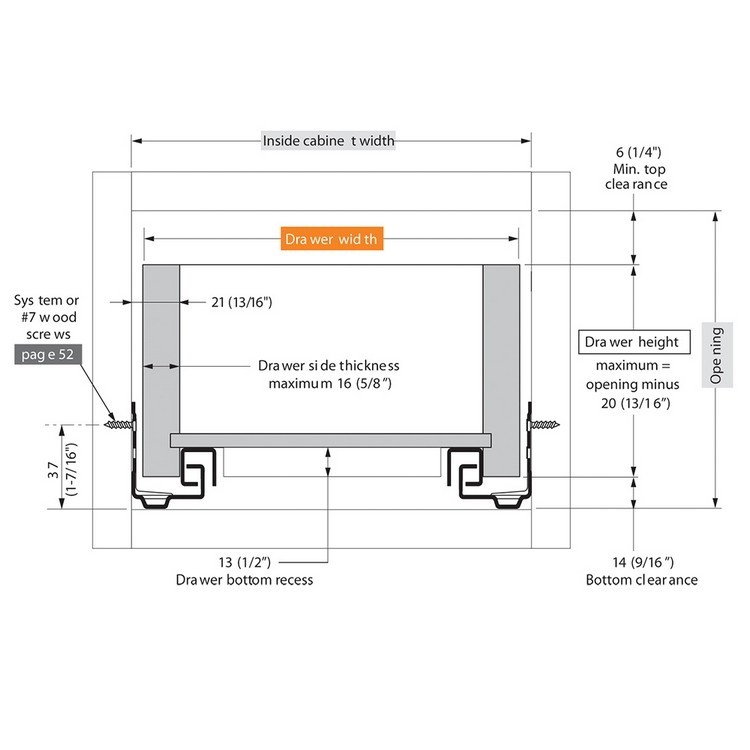 "Blum 552H3810N 15"" TANDEM 552H Undermount Partial Extension Drawer Slide for 5/8 Drawer :: Image 30"