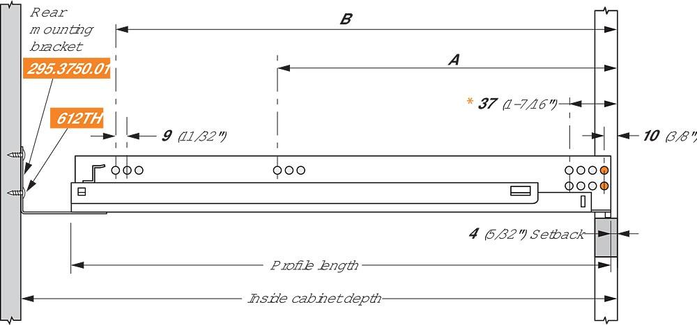 "Blum 552H3810N 15"" TANDEM 552H Undermount Partial Extension Drawer Slide for 5/8 Drawer :: Image 110"