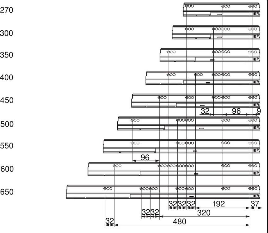 "Blum TANDEMBOX Drawer System 559.5501T-R-L 22"" Steel TANDEMBOX Intivo with TIP-ON/Lock Mechanism, Zinc :: Image 20"