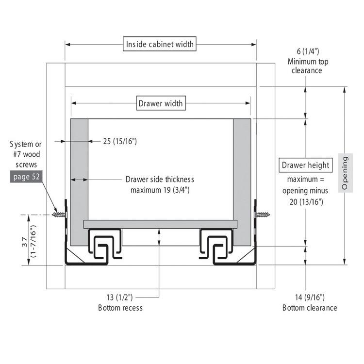 "Blum 562F4570C 18"" TANDEM 562F Undermount Full Extension Drawer Slide for 3/4 Drawer :: Image 120"