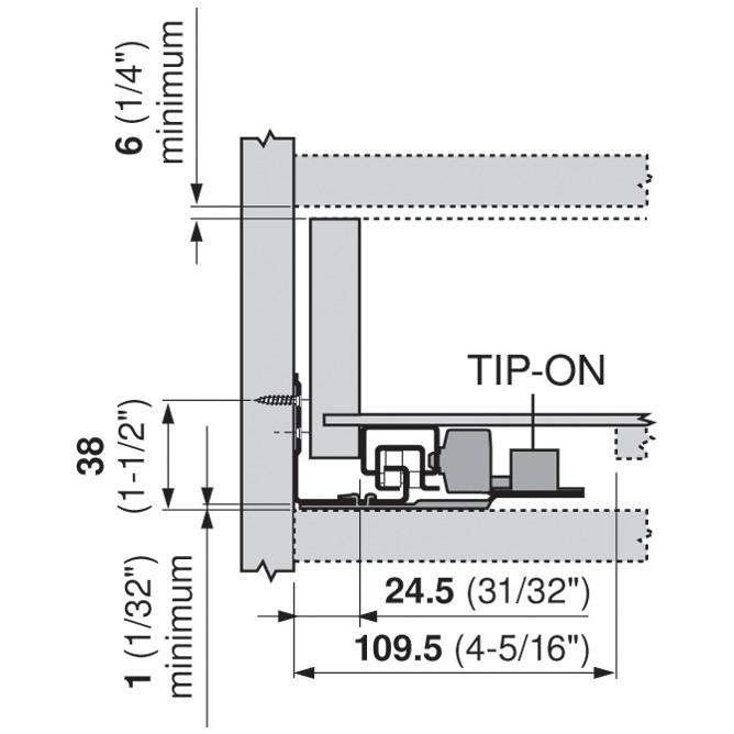 "Blum 562F4570C 18"" TANDEM 562F Undermount Full Extension Drawer Slide for 3/4 Drawer :: Image 90"