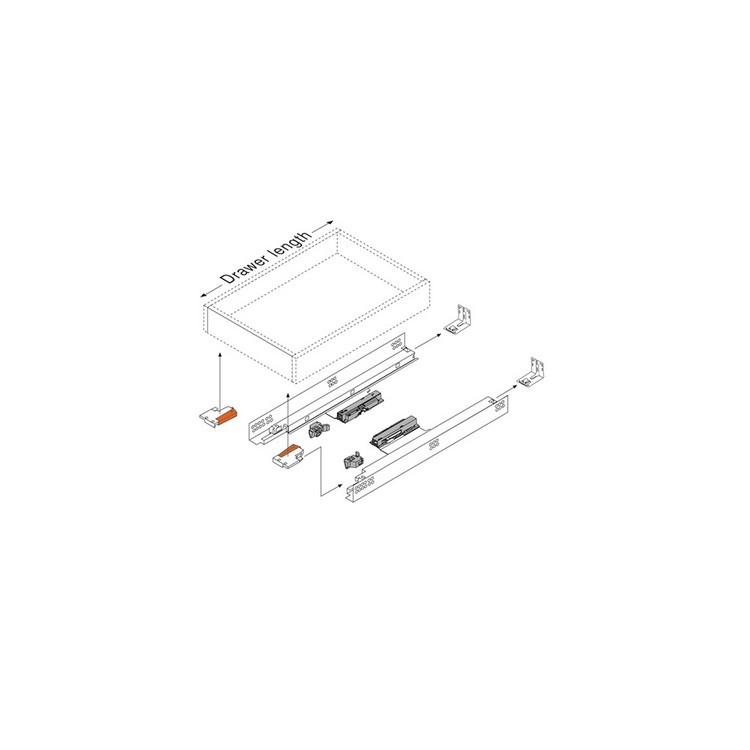 "Blum 562H5330C 21"" TANDEM 562H Undermount Full Extension Drawer Slide for 5/8 Drawer :: Image 280"