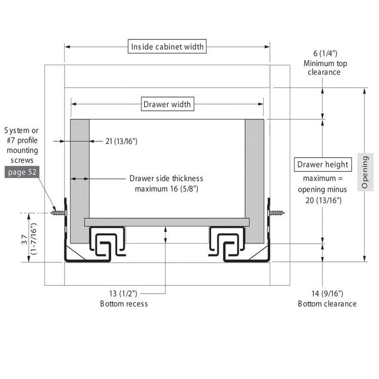 "Blum 562H5330C 21"" TANDEM 562H Undermount Full Extension Drawer Slide for 5/8 Drawer :: Image 200"
