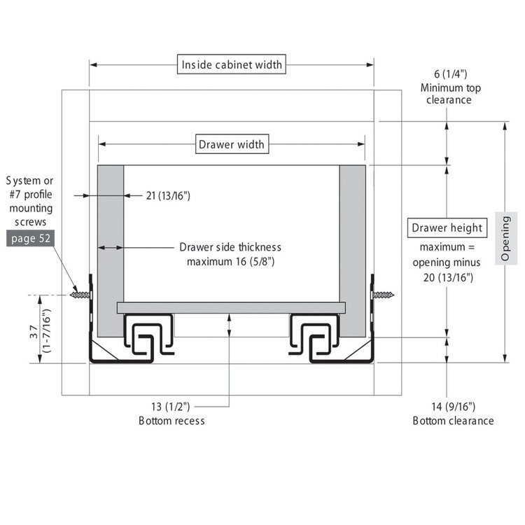 "Blum 562H3810C 15"" TANDEM 562H Undermount Full Extension Drawer Slide for 5/8 Drawer :: Image 140"