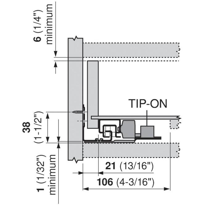 "Blum 562H5330C 21"" TANDEM 562H Undermount Full Extension Drawer Slide for 5/8 Drawer :: Image 150"
