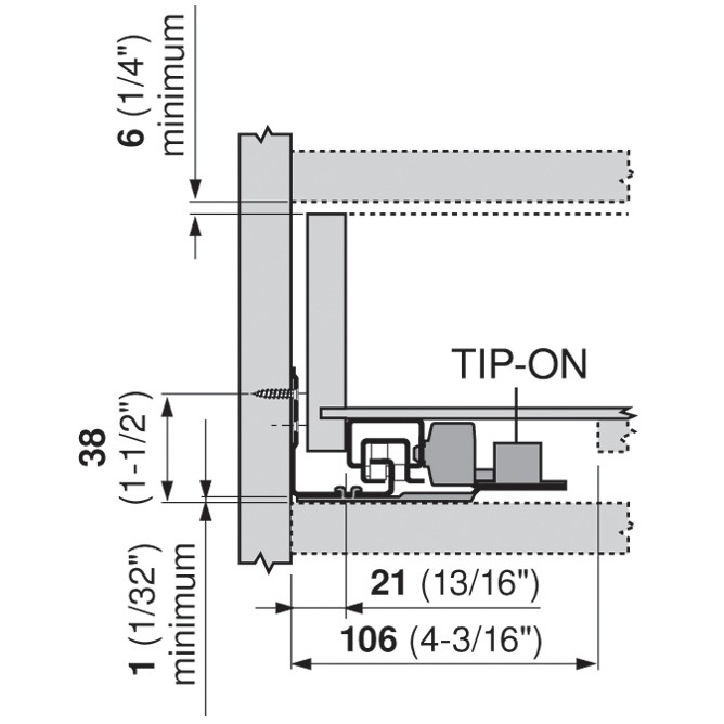 "Blum 562H3810C 15"" TANDEM 562H Undermount Full Extension Drawer Slide for 5/8 Drawer :: Image 90"