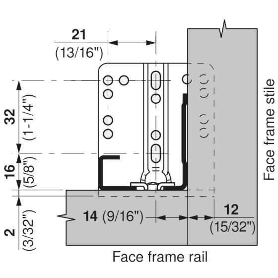 "Blum 563H3050B 12"" TANDEM plus BLUMOTION 563H Undermount Drawer Slide, Full Extension, Soft-Close, for 5/8 Drawer, 90lb :: Image 210"