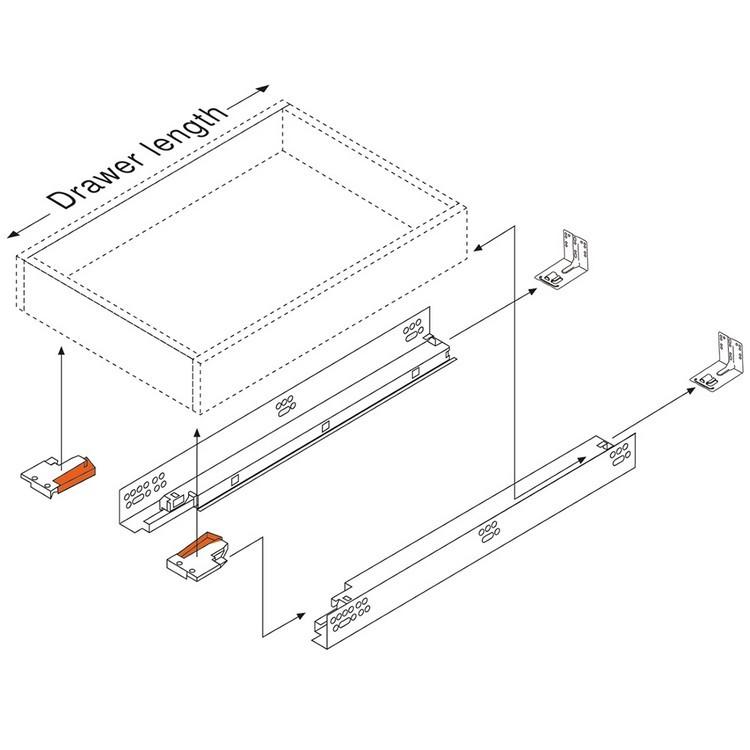 "Blum 552H3810N 15"" TANDEM 552H Undermount Partial Extension Drawer Slide for 5/8 Drawer :: Image 130"