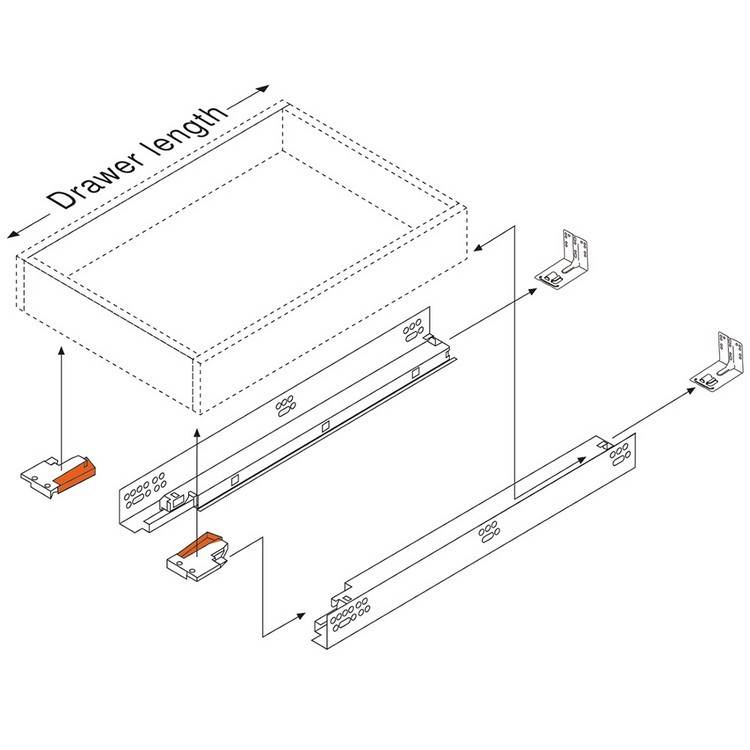 "Blum 552H4570N 18"" TANDEM 552H Undermount Partial Extension Drawer Slide for 5/8 Drawer :: Image 130"