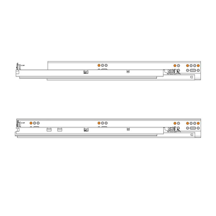 "Blum 563H4570B 18"" TANDEM plus BLUMOTION 563H Undermount Drawer Slide, Full Extension, Soft-Close, for 5/8 Drawer, 90lb :: Image 470"