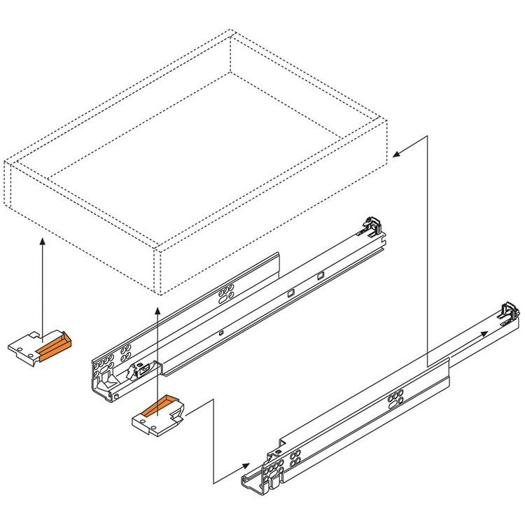 "Blum 563.4570B 18"" TANDEM plus BLUMOTION 563 Undermount Drawer Slide, Full Extension, Soft-Close, for 5/8 Drawer, 90lb :: Image 250"