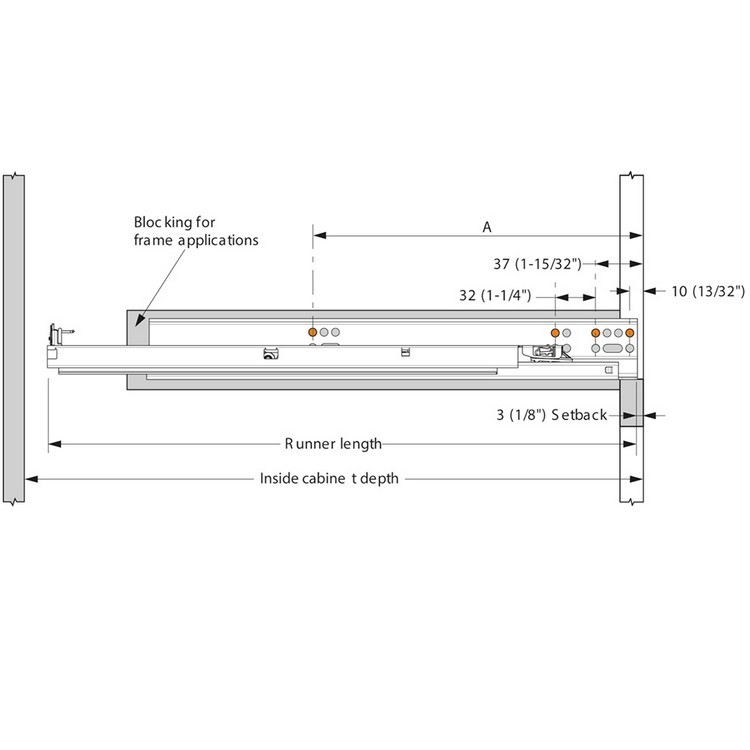 "Blum 563.5330B 21"" TANDEM plus BLUMOTION 563 Undermount Drawer Slide, Full Extension, Soft-Close, for 5/8 Drawer, 90lb :: Image 260"