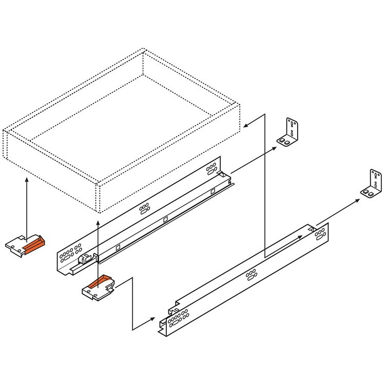 "Blum 563F2290B10 9"" TANDEM plus BLUMOTION 563F Undermount Drawer Slide, Full Extension, Soft-Close, for 3/4 Drawer, 90lb :: Image 190"