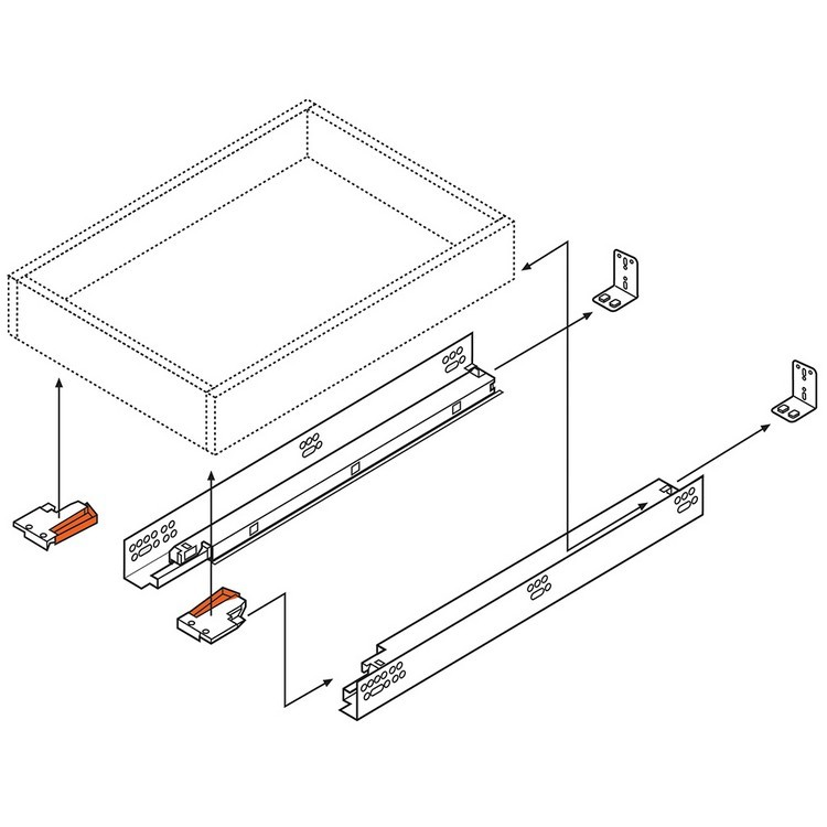 "Blum 563H5330B 21"" TANDEM plus BLUMOTION 563H Undermount Drawer Slide, Full Extension, Soft-Close, for 5/8 Drawer, 90lb :: Image 90"