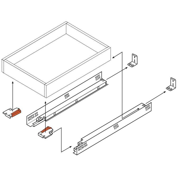 "Blum 563H3050B 12"" TANDEM plus BLUMOTION 563H Undermount Drawer Slide, Full Extension, Soft-Close, for 5/8 Drawer, 90lb :: Image 260"