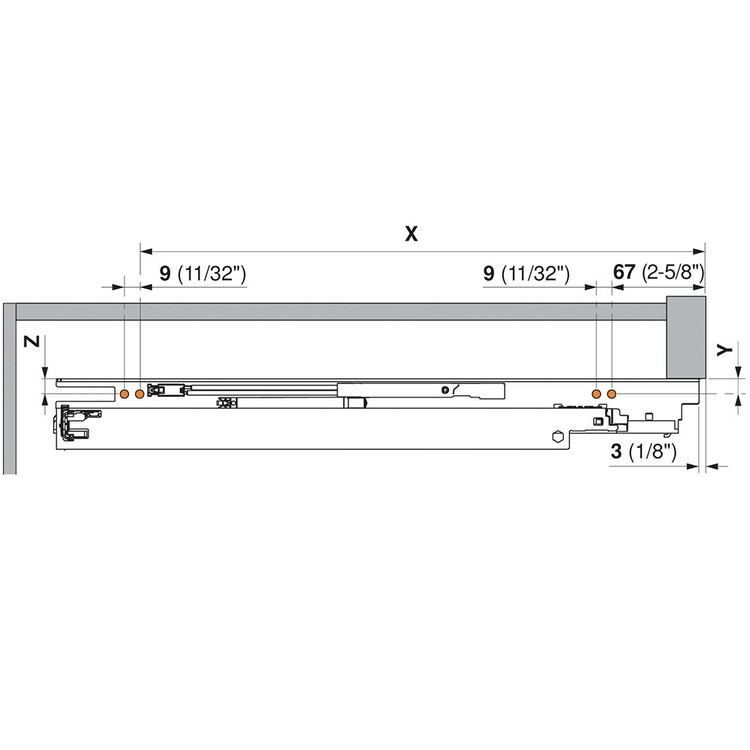 "Blum 563F5330B 21"" TANDEM plus BLUMOTION 563F Undermount Drawer Slide, Full Extension, Soft-Close, for 3/4 Drawer, 90lb :: Image 260"