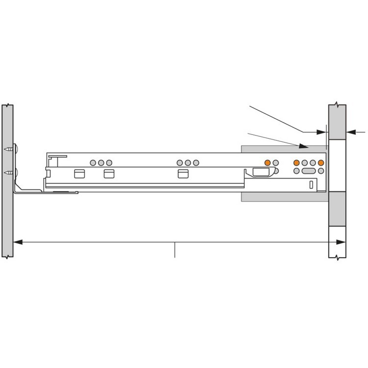 "Blum 563H2290B10 9"" TANDEM plus BLUMOTION 563H Undermount Drawer Slide, Full Extension, Soft-Close, for 5/8 Drawer, 90lb :: Image 290"