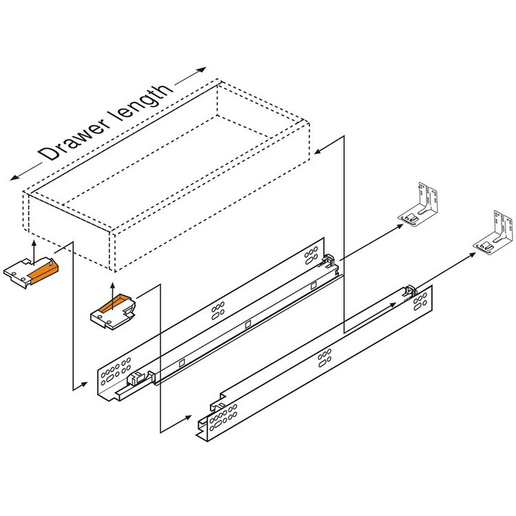 "Blum 563F2290B10 9"" TANDEM plus BLUMOTION 563F Undermount Drawer Slide, Full Extension, Soft-Close, for 3/4 Drawer, 90lb :: Image 230"