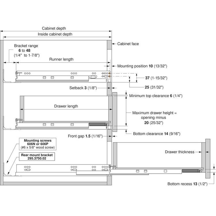 "Blum 563.5330B 21"" TANDEM plus BLUMOTION 563 Undermount Drawer Slide, Full Extension, Soft-Close, for 5/8 Drawer, 90lb :: Image 390"