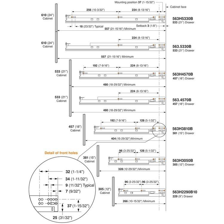 "Blum 563H3050B 12"" TANDEM plus BLUMOTION 563H Undermount Drawer Slide, Full Extension, Soft-Close, for 5/8 Drawer, 90lb :: Image 140"