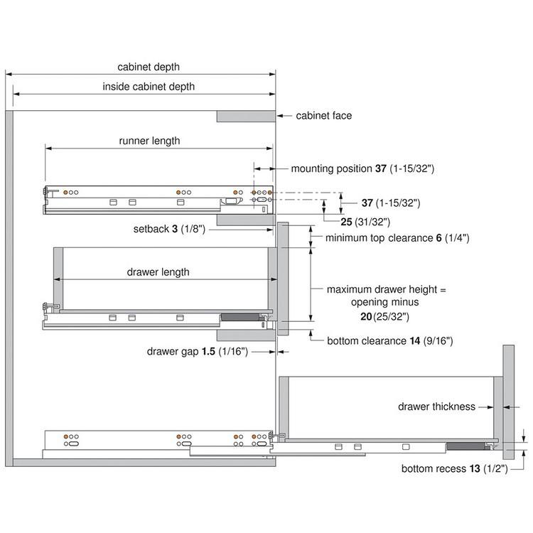 "Blum 563H3050B 12"" TANDEM plus BLUMOTION 563H Undermount Drawer Slide, Full Extension, Soft-Close, for 5/8 Drawer, 90lb :: Image 150"
