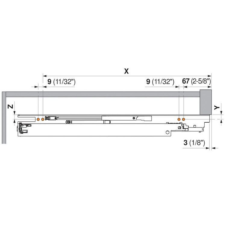 "Blum 563F2290B10 9"" TANDEM plus BLUMOTION 563F Undermount Drawer Slide, Full Extension, Soft-Close, for 3/4 Drawer, 90lb :: Image 140"
