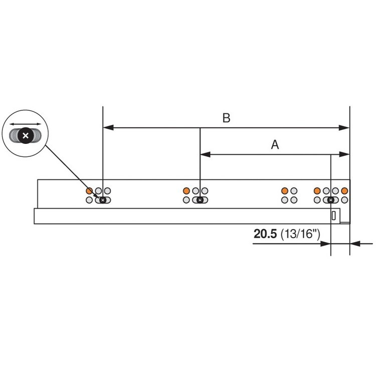 "Blum 563.4570B 18"" TANDEM plus BLUMOTION 563 Undermount Drawer Slide, Full Extension, Soft-Close, for 5/8 Drawer, 90lb :: Image 210"