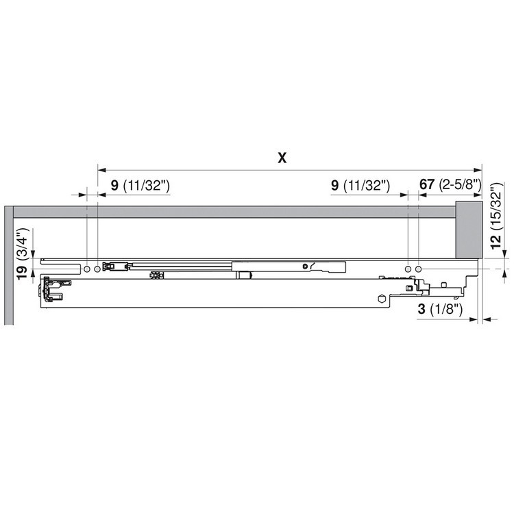 "Blum 563H2290B10 9"" TANDEM plus BLUMOTION 563H Undermount Drawer Slide, Full Extension, Soft-Close, for 5/8 Drawer, 90lb :: Image 240"