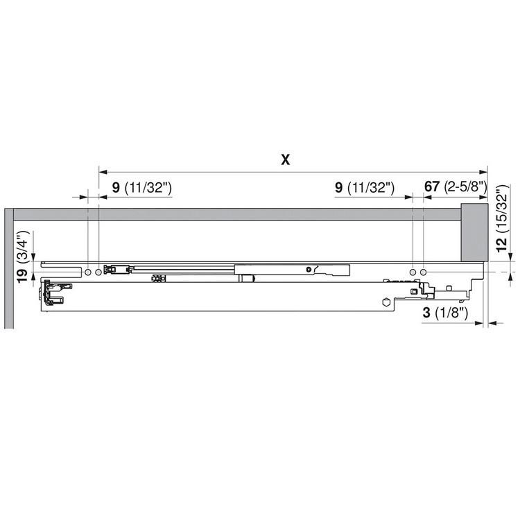 "Blum 563H3050B 12"" TANDEM plus BLUMOTION 563H Undermount Drawer Slide, Full Extension, Soft-Close, for 5/8 Drawer, 90lb :: Image 230"