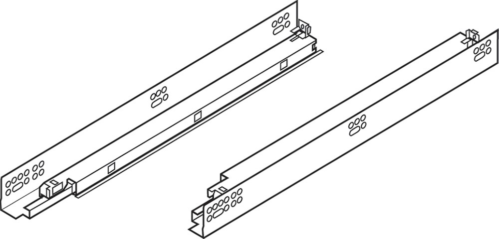 "Blum 563H4570B 18"" TANDEM plus BLUMOTION 563H Undermount Drawer Slide, Full Extension, Soft-Close, for 5/8 Drawer, 90lb :: Image 250"