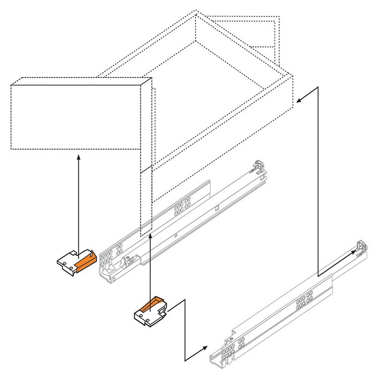 """Blum 569A6860B 27"""" TANDEM plus BLUMOTION 569A Undermount Drawer Slide, Heavy Duty, Full Extension, for 3/4 Drawer, 135lb :: Image 260"""