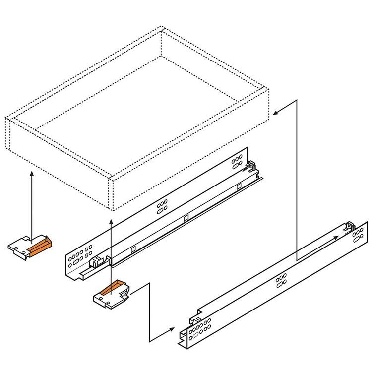 "Blum 569H4570B 18"" TANDEM plus BLUMOTION 569H Undermount Drawer Slide, Heavy Duty, Full Extension, for 5/8 Drawer, 135lb :: Image 160"