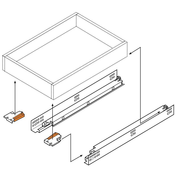 "Blum 569H5330B 21"" TANDEM plus BLUMOTION 569H Undermount Drawer Slide, Heavy Duty, Full Extension, for 5/8 Drawer, 135lb :: Image 150"