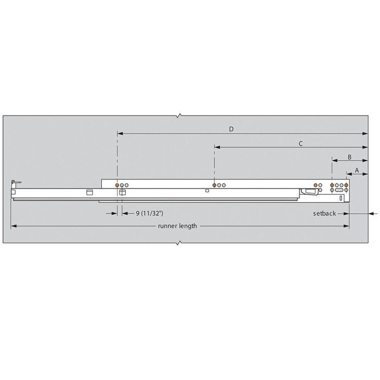 """Blum 569A6860B 27"""" TANDEM plus BLUMOTION 569A Undermount Drawer Slide, Heavy Duty, Full Extension, for 3/4 Drawer, 135lb :: Image 290"""