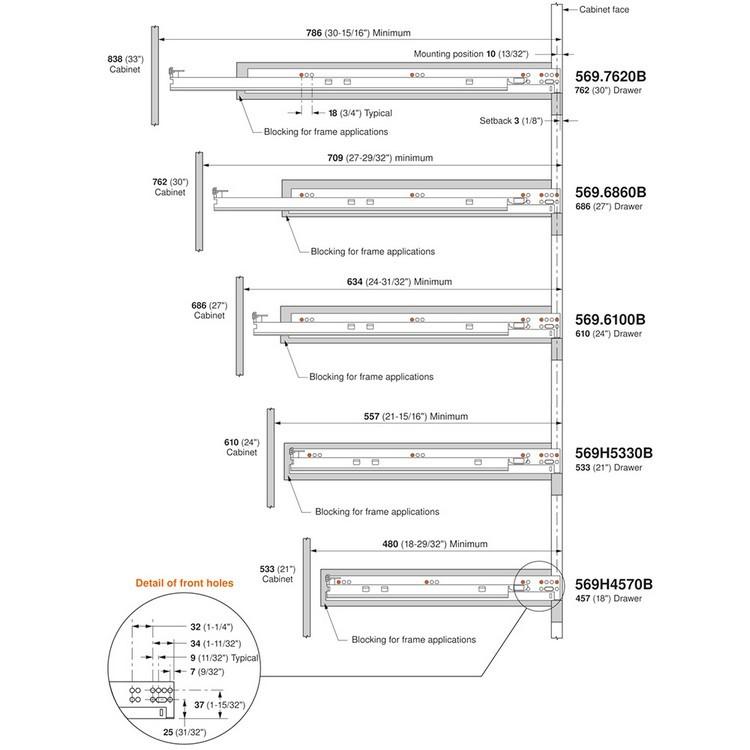 "Blum 569H4570B 18"" TANDEM plus BLUMOTION 569H Undermount Drawer Slide, Heavy Duty, Full Extension, for 5/8 Drawer, 135lb :: Image 300"