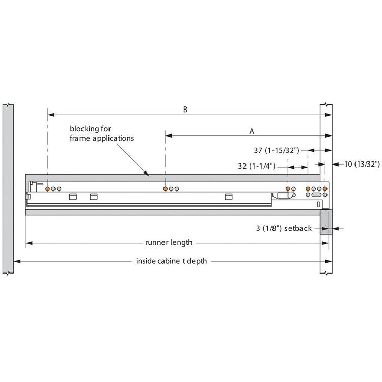 "Blum 569H4570B 18"" TANDEM plus BLUMOTION 569H Undermount Drawer Slide, Heavy Duty, Full Extension, for 5/8 Drawer, 135lb :: Image 200"
