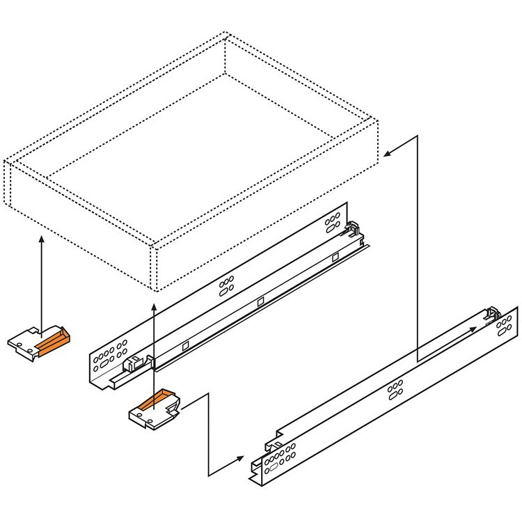"""Blum 569A6860B 27"""" TANDEM plus BLUMOTION 569A Undermount Drawer Slide, Heavy Duty, Full Extension, for 3/4 Drawer, 135lb :: Image 220"""