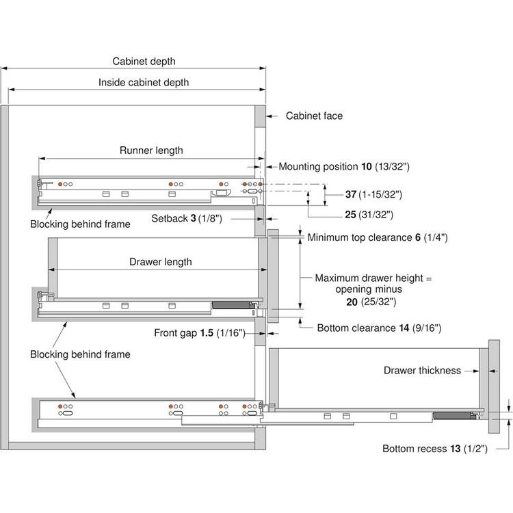 "Blum 569H4570B 18"" TANDEM plus BLUMOTION 569H Undermount Drawer Slide, Heavy Duty, Full Extension, for 5/8 Drawer, 135lb :: Image 270"