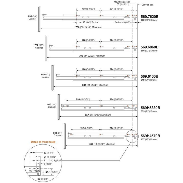 "Blum 569H4570B 18"" TANDEM plus BLUMOTION 569H Undermount Drawer Slide, Heavy Duty, Full Extension, for 5/8 Drawer, 135lb :: Image 290"