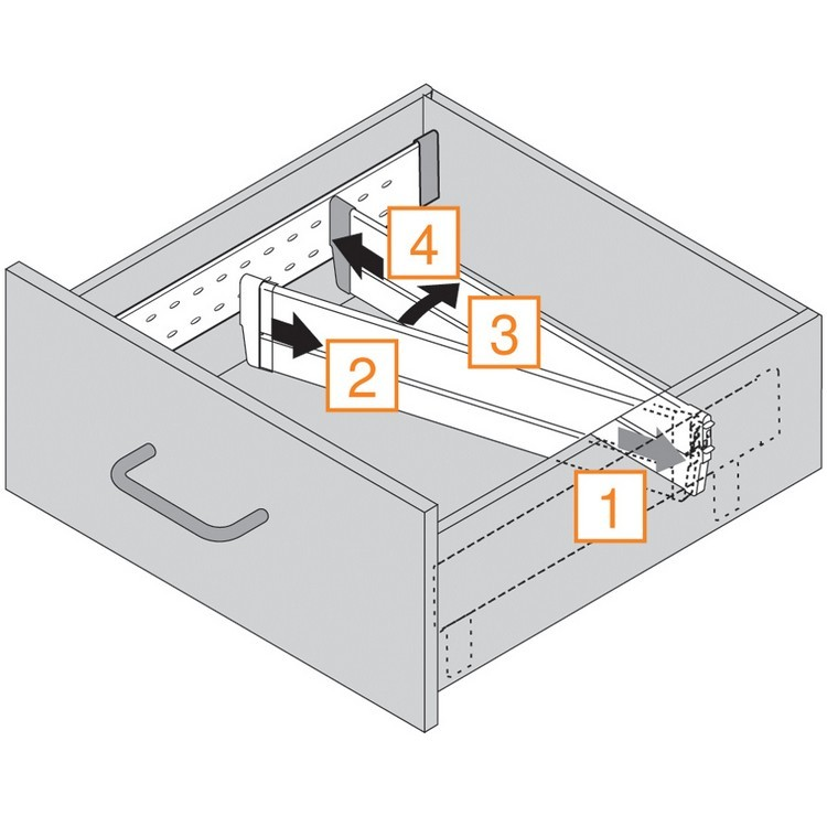 "Blum 552H5330N 21"" TANDEM 552H Undermount Partial Extension Drawer Slide for 5/8 Drawer :: Image 20"