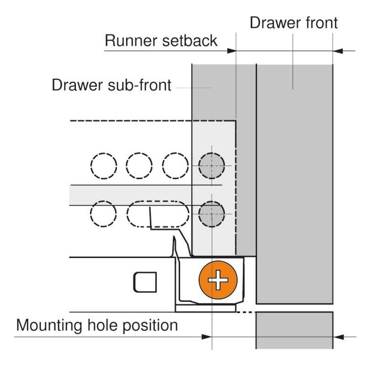 "Blum 563H3050B 12"" TANDEM plus BLUMOTION 563H Undermount Drawer Slide, Full Extension, Soft-Close, for 5/8 Drawer, 90lb :: Image 120"