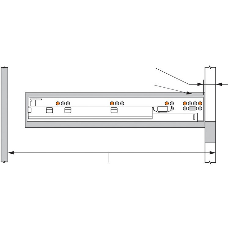 """Blum 569A6860B 27"""" TANDEM plus BLUMOTION 569A Undermount Drawer Slide, Heavy Duty, Full Extension, for 3/4 Drawer, 135lb :: Image 250"""
