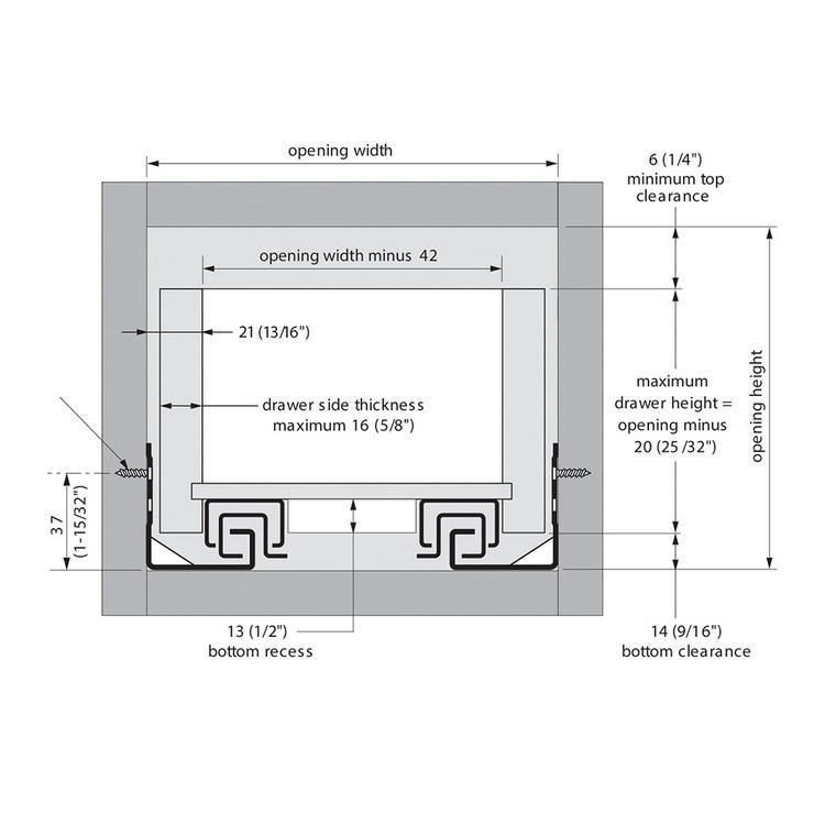 "Blum 563H3050B 12"" TANDEM plus BLUMOTION 563H Undermount Drawer Slide, Full Extension, Soft-Close, for 5/8 Drawer, 90lb :: Image 270"