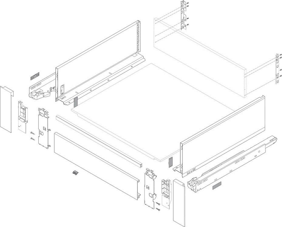 """Blum 753.4501B LEGRABOX 18"""" Cabinet Profile, BLUMOTION, Zinc, Heavy Duty 155lb :: Image 130"""